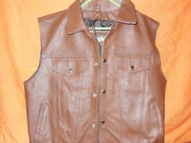 brown leather cut off style waistcoat mens XL