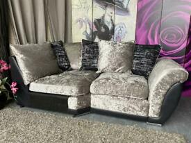 New Alexa Crushed Velvet And Faux Leather Scatter Back Cushions Corner Sofa Sections