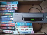 Vhs player and videos
