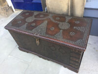 Indian Dowry Chest - free Local delivery, with brass stud work . size L41 in D 19 in H 21 in