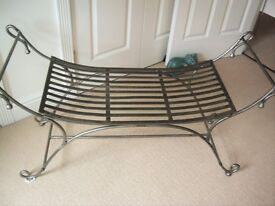 SOLID CAST IRON WINDOW SEAT WITH CURLED ENDS, 4 SILK CUSHIONS