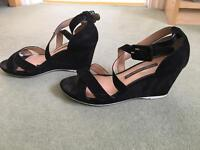 Ladies Black suede French Connection wedge sandals