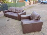 3+1 brown Oxford brown leather sofa