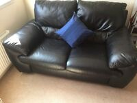 2 seater black leather sofa - Excellent condition!!