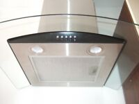 CURVED GLASS STAINLESS STEEL CHIMNEY EXTRACTOR FAN