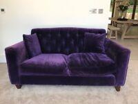 Two-Seater Deep Royal Purple Velvet Sofa