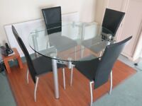 Glass Dining Table, extendable, 4 chairs, very good quality, bought from Tappers of Wimborne