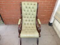 A Olive/Lime Green Leather Chesterfield Slipper Recliner Chair