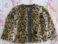 Girls faux fur/leather trim jacket River Island age 11 years excellent condition hardly worn