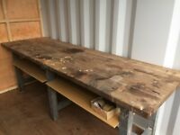 Solid Wooden Work Bench (length 8ft, depth 30 inch, height 32 inches). £50 ONO
