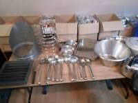 CATERING ITEMS BULK LOAD SPOONS,LADLES,PAN,CAKE STANDS,BOWLS,WHISK ETC