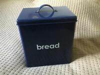 Brand New Navy Blue Enamel Bread Bin & Matching Tea, Coffee, Sugar & Biscuit Containers