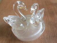 Heavy Glass Swan Ornament
