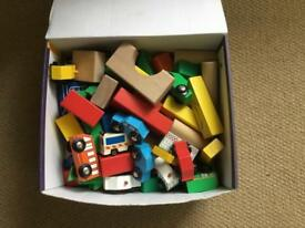 Wooden play blocks and road