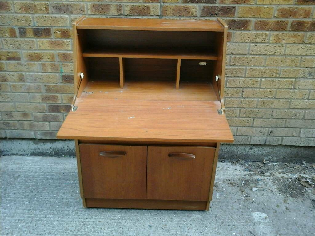 Medium coloured wood bureau needs sime tlc in maidstone kent