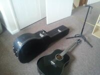 Fender CD-60 Acoustic Guitar with Hard Case and Guitar Stand