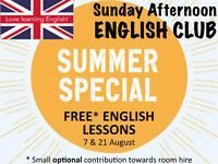 FREE English lessons in August: MORE SPEAKING, MORE FUN! (Sunday English Club)