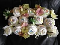 Baby gift nappy flower basket