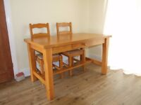 Solid Pine Table and Four Chairs with Woven Seats