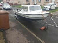 15ft fishing boat with outboard and trailer