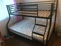 Black Metal Framed Triple Bunk Beds
