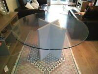 John Lewis oak base / glass top dining table