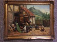Farm yard Oil painting with frame