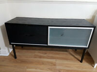 TV Cabinet - Black (Drawers and Sliding Door)
