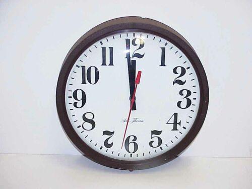 Working Vintage Seth Thomas School / Industrial Electric Wall Clock Convex Glass