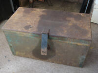 Vintage metal tool box with three compartments, handles and metal clasp