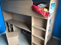 Childs high bed with wardrobe, chair and shelves for storage, £100 or near offer, buyer collect