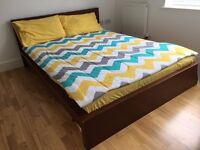 IKEA MALM bed frame & Mattress - Standard Double - dark brown solid wood