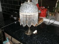 table lamp with glass beads and glass shade