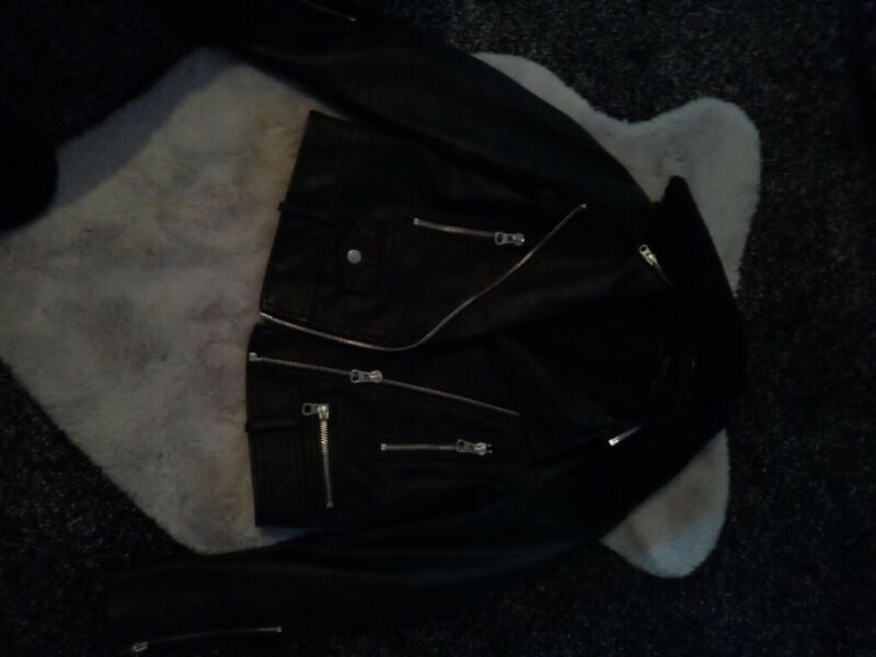 Faux leather zara Basic biker jacket never had belt only tried on for sale  Leicester, Leicestershire