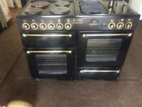 Black leisure 110cm electric cooker grill & double fan ovens with guarantee