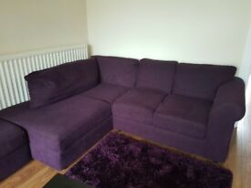 Purple corner sofa