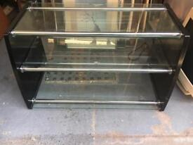 Black wood and glass tv stand