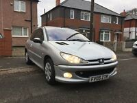 2005 Peugeot 206 silver 1.1Zest 3 dr+Long MOT+AC+Service History+HPI Clear+Warranted Miles For £595