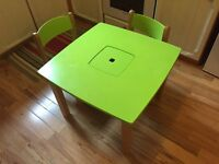 Children's wooden table & 2 chairs