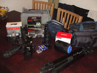 PENTAX Digital K100D and 35mm MZ50 Cameras plus equipment inc: Zoom Lens, Flash & Bags