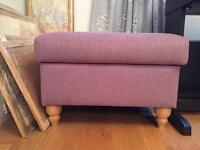 Next Wilson footstool in raspberry fabric