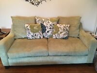 Pale green 3 piece suite including foot stool. 3 seater, 2 seater and armchair. Excellent condition.