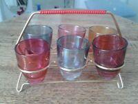 Vintage Multi-Coloured Cocktail Shot Glasses
