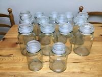 Glass storage jars. Ideal for weddings or craft work
