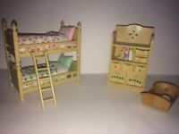 Sylvanian Twin Bedroom with Cot
