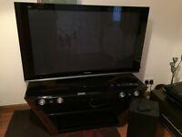 """Panasonic Viera 50"""" Plasma TV, JVC Soundbar and TV Unit"""