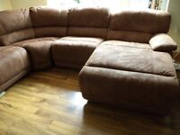 Large Suedette Luxurious Recliner Settee - Light Brown