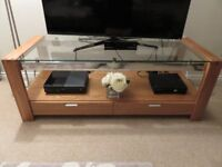 Mark Harris Roma Solid Oak TV Stand with Glass Top