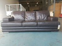 AS NEW GLOW LEATHER 3 SEATER SOFA / SETTEE / SUITE IN MOCHA BROWN / DARK BROWN DELIVERY AVAILABLE