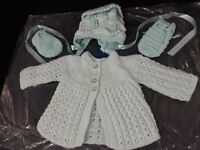 Brand new Mint green hand knitted 3 piece cardigan set with hat and mitts